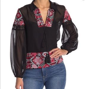 Endless Rose Dorian Embroidered Black Chiffon Top